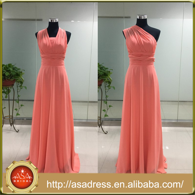 ASAJ-05 Custom made Chiffon Floor Length Long Convertible Bridesmaid Dresses
