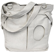 Large Cotton Tote Washable Diaper Bag with attached Stroller Straps