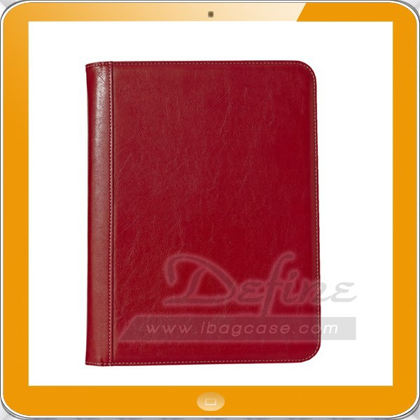 OEM Brand High end Zip closure pu leather a4 flat compendium