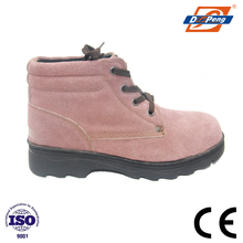nature suede leather ankle protective women safety boots with rubber sole