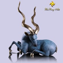 Brass animal craft decorative business gifts bronze antelope statue for sale
