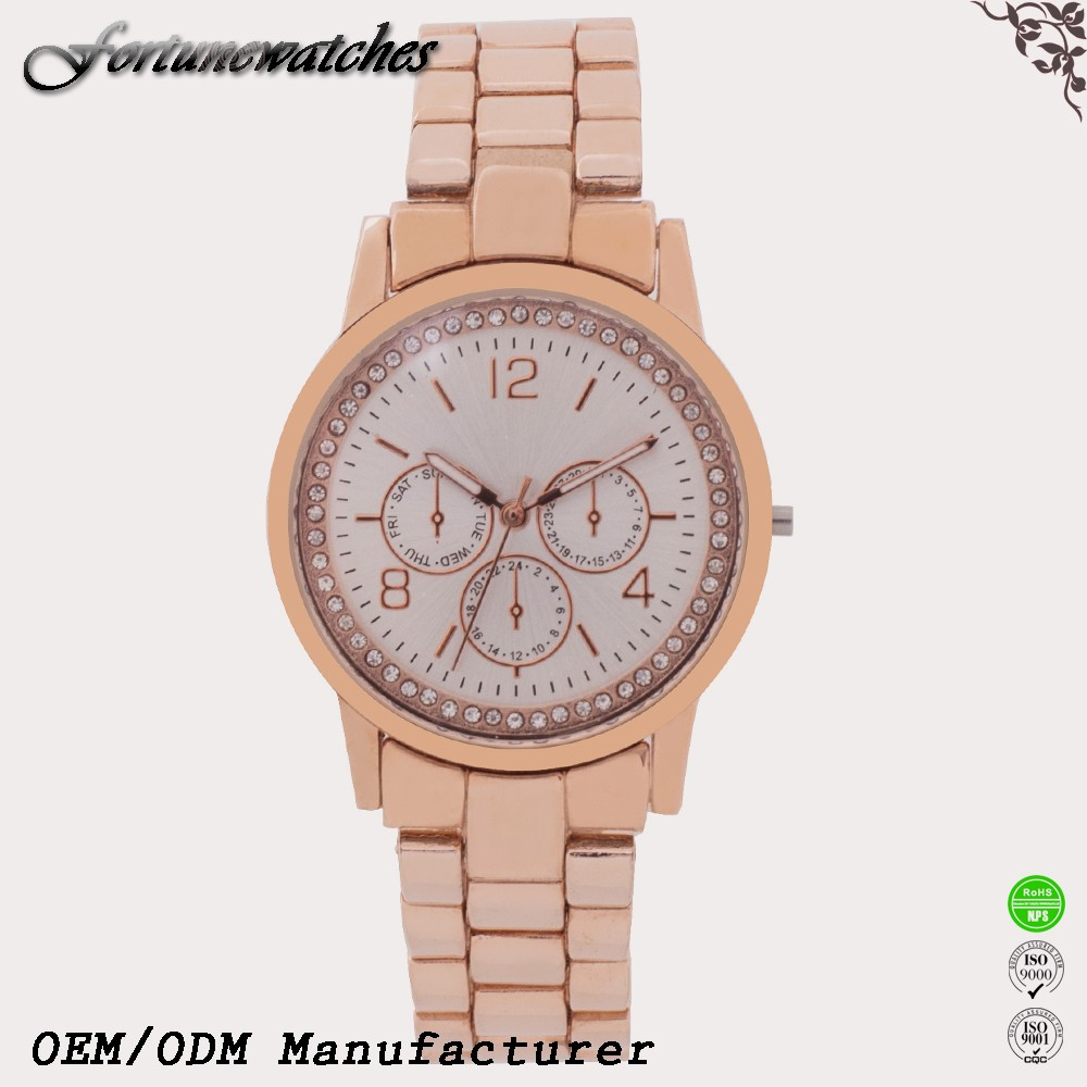 Japan movt quartz watch stainless steel case back Rose gold watch