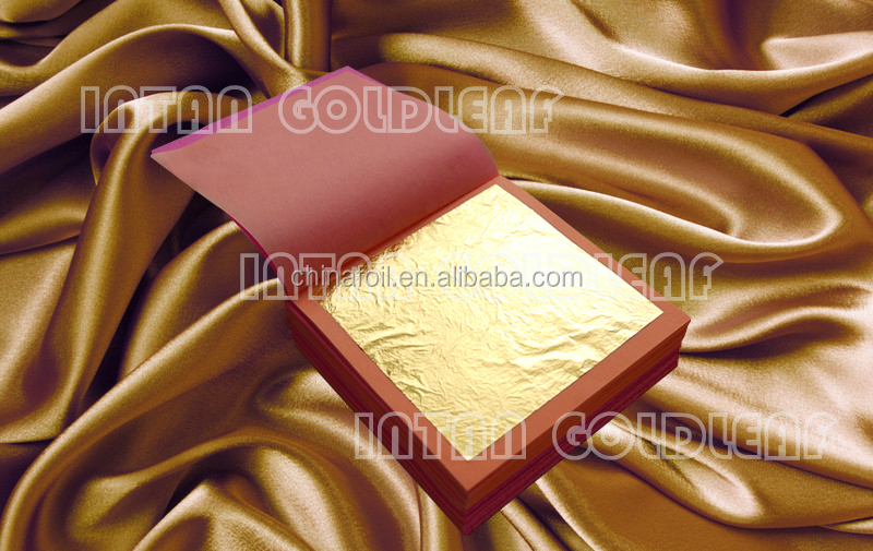 gold leaf 24K 23.75K 23K 22K 18K 12K 8X8cm for gilding and decorating furniture frame temple from chinese suppliers