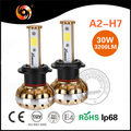 Wholesale auto parts A2 series H7 led fog light 30W 3200lm per bulb IP68 cooling fan high canbus headlight