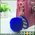 New wholesales Faux Fur Pom Pom Keychain With Mirror Bag Charm Keyring Fashion Accessories