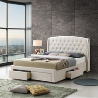 Free Sample White Bedroom Set Gray King Size Fabric Bed