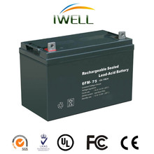 IWELL brand free mainternance high quality lead acid 12v 75ah AGM battery
