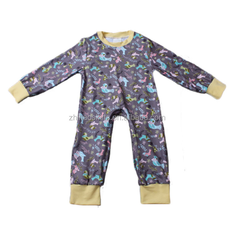 latest long sleeve cute animal printed winter thick knit cotton soft infant baby girl romper