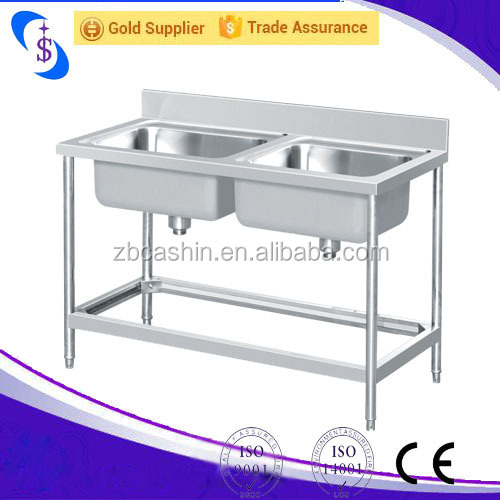 China Kexin Double Bowl Top Mount Stainless Steel Kitchen Sink w/ Drainboard