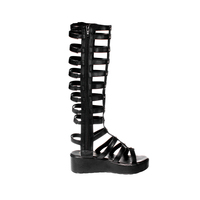 2020 New Model Long Gladiator Black Genuine Leather Sandals Women