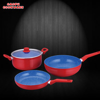 4pcs aluminium marbel coating red color heat resistant painting cookware set