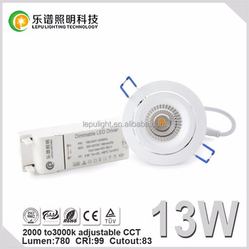 Nordic hot sell 83mm Cutout cob led downlight Dimmable CCT Adjustable 2000-2800k 9w 13w 15w