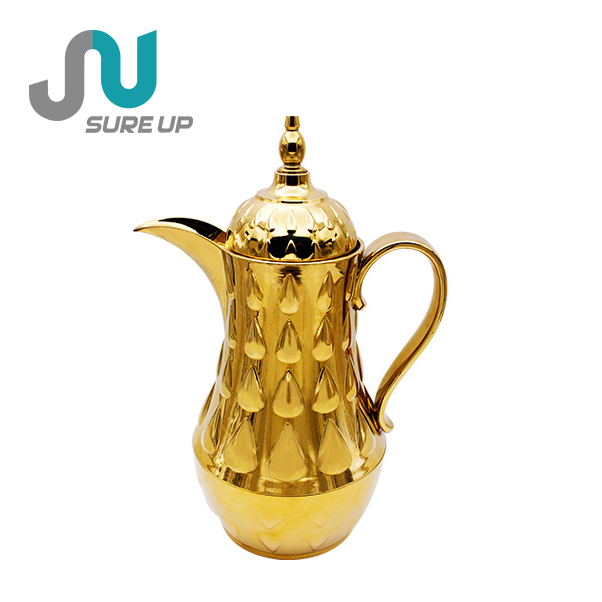 1.0L New Arabic style chroming glass liner coffee pot dallah (JGLI)