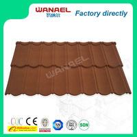 8 waves colorful stone coated metal maroon copper roofing tiles