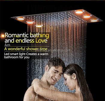 led light shower 360 x 500 embeded ceiling stainless steel remote control led color light shower head