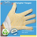 raw white gloves working safety gloves with PVC dots