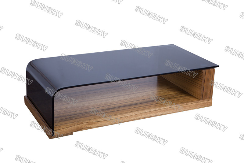 2016 Hot Sale New Design modern entertainment unit bend glass coffee table SK1528A