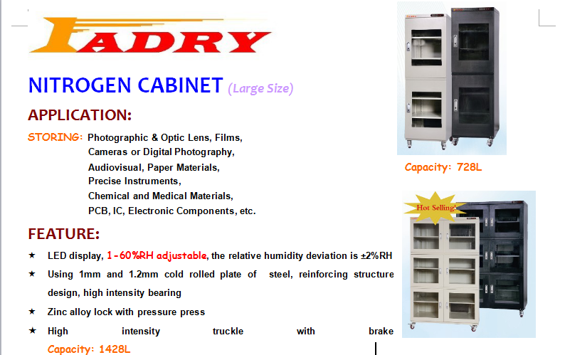 stainless steel N2 cabinet with alarm system and supur volume
