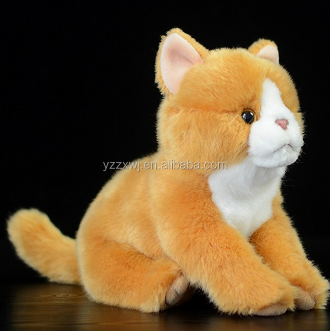 free sample lifelike plush cat toys/yellow stuffed cat toys/soft cat toys