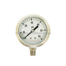 "1/4"" Bottom Mounting Thread 0-30PSI Good Quality Oil Filled Stainless Steel Pressure Gauge"