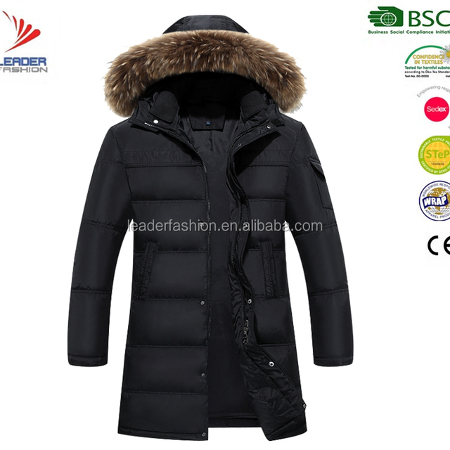 High quality winter down long jacket fake fur parka jacket for men