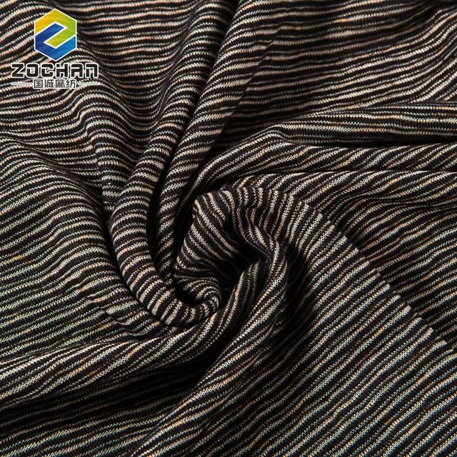 China textile yarn dyed stripe linen polyester blend fabric for dress