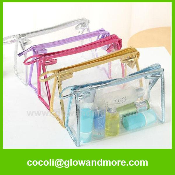 Women travelling transparent pvc cosmetic bag