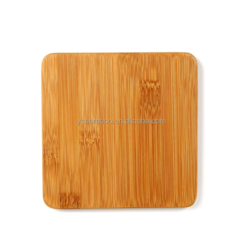 Wholesale New Design Bamboo Wooden Coasters for Drinks with Holders - Square 4 Piece Set with 4 color
