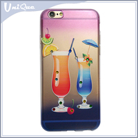 newest popular 3D liquid phone case for iphone 6 case, wine glass design with diamond tpu case