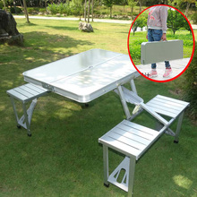 Outsunny Portable folding aluminum picnic table chair set