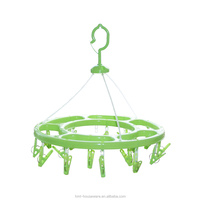 pp wholesale round laundry hanging drying rack with 18 clips