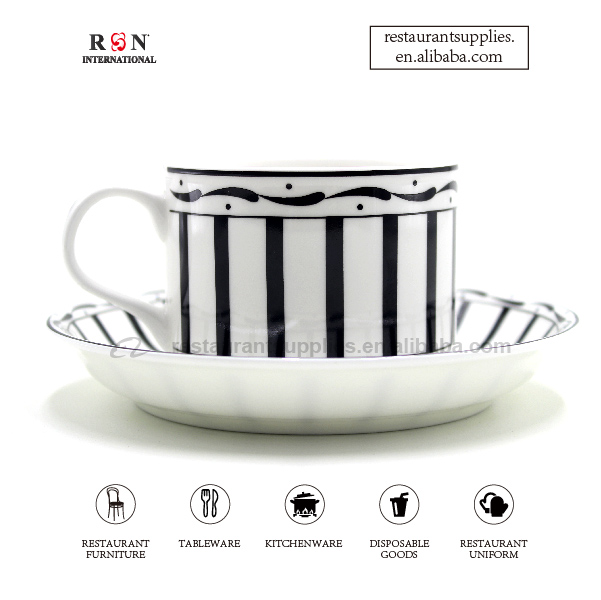 Black And White Tea Cup And Saucer Ceramic Coffee Espresso Cup Set