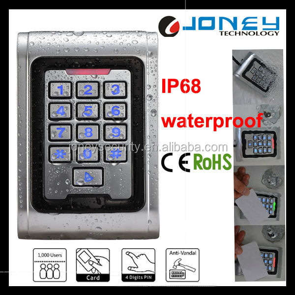 2000 Users Password and Card Zinc Alloy Vandal proof Metal Access Control Security Keypad