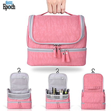 Designer fashionable water resistant portable pink nylon hanging toiletry kit for femals