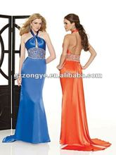 New Hot Sale Elegant Beading Empire Waist Halter Evening Dress