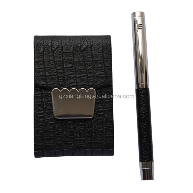 Popular wholesale promotion gift set in America push pen & business card holder