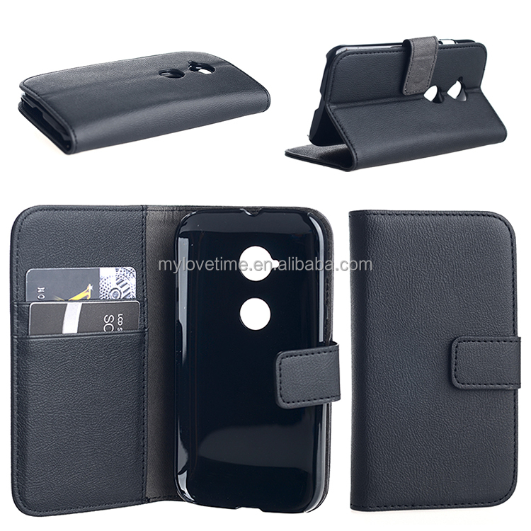 wallet leather case for Moto E2 with 2 card slots