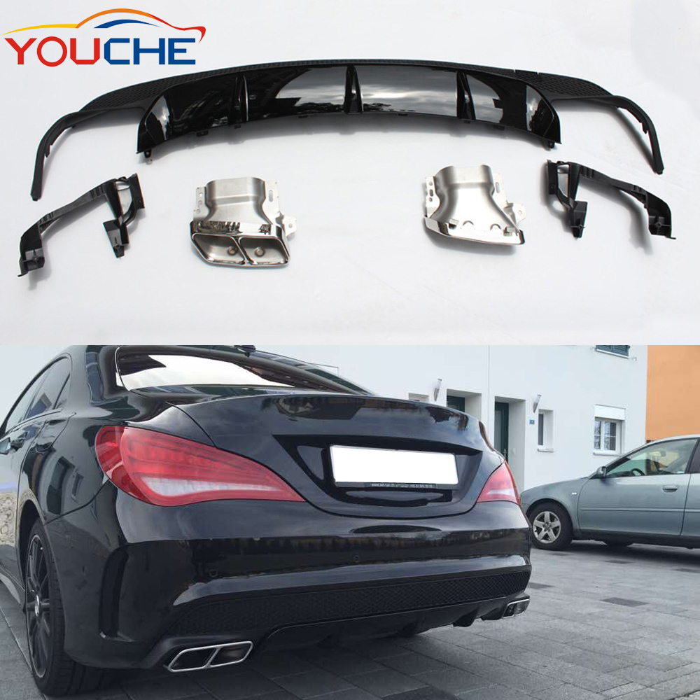 DIffuser &amp; exhaust tip for Mercedes CLA class <strong>W117</strong> 2014-2016 <strong>W117</strong> abs rear bumper diffuser &amp; exhaust tip