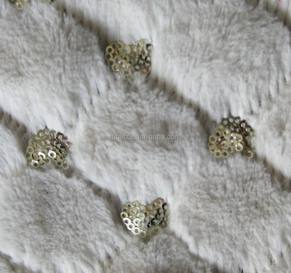 Sequin embroidery polyester fleece fabric for women s wear