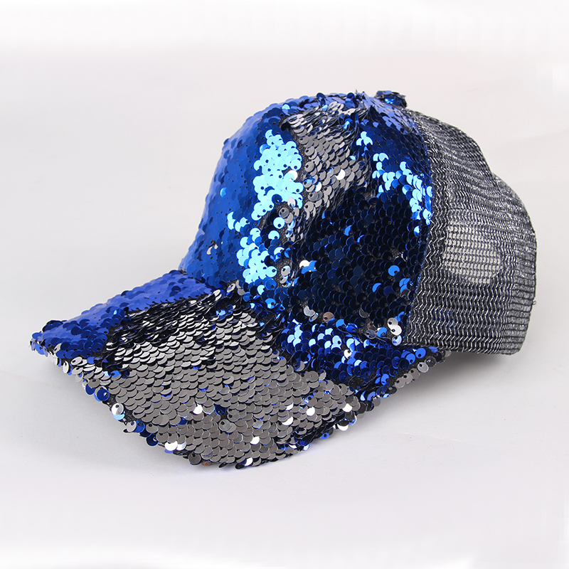 Two Tone Unisex Adult Custom Cheaper Caps Glitter Sequin Mesh Fashion Baseball Cap