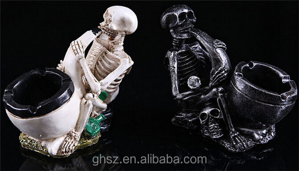 customized resin human skeleton personalized ashtray