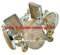 Natural!! Silver Picture Jasper Bracelet jewellery Solitaire Emerald Cut Diamond Ring Male Wedding Earrings