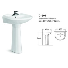 Bathroom Toilet Pedestal Pan Ceramic Hand Wash Basin With Stand