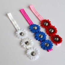 Rhinestone flower crochet baby headband, flower headband for kids