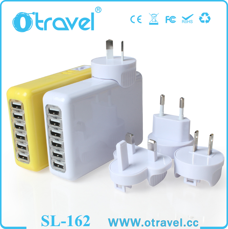 Multi Ports USB Main Wall Charger Adapter For iPhone 6 5 iPad 2 3 Mini CellPhone 6 port usb wall plug