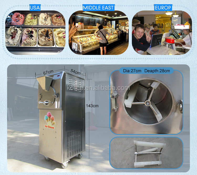CE Rohs Approval Italy Carpigiani Bravo Commercial Full Automatic Gelato Hard Ice Cream Batch Freezer