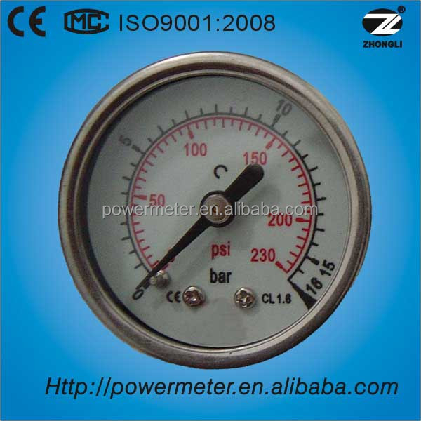 Y-40 low price SS case / brass connection / back type / psi, bar double scale pressure gauge with CE and ISO certificates