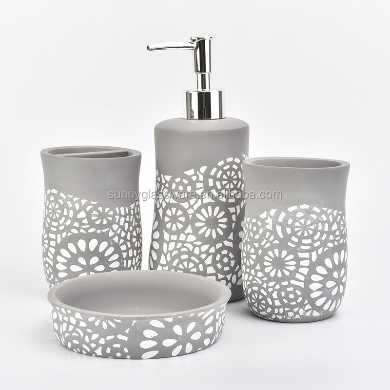 Europe Market hot sell bathroom set Concrete handmade bathroom accessories with pump