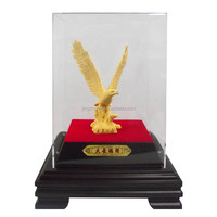 2015 hot sale brass plated 24 k gold large eagle statues for sale