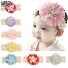 Quality Baby Hair Accessories Lace Headbands Net Flower With Bow Hair Bands For Girls Kids Head Band WOH-004